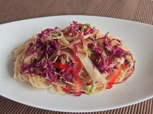食用菊のパスタ