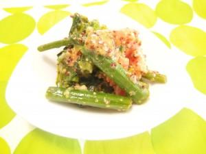 アスパラ菜とスモークサーモンのマスタード和え